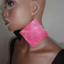 ONE SIDED Studded Panel Pink Earrings