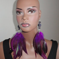 Purple Feather Earrings with Rhinestone Balls