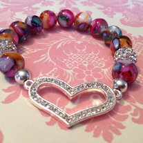 Heart Stretch Bracelet w/ Silver Heart and Agate Beads