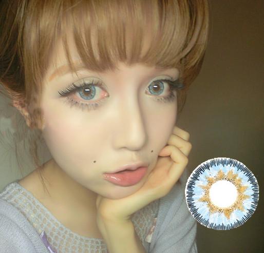 天使冰蓝,上眼 效果 和外国人一样清澈的天蓝色图片