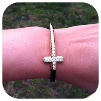 Black Strap Cross Bracelet