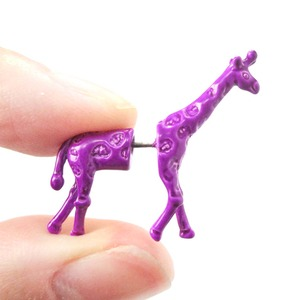 3D Fake Gauge Realistic Giraffe Animal Stud Earrings in Bright Purple