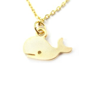Cute Simple Whale Silhouette Animal Charm Necklace in Gold
