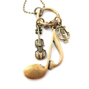 Music Themed Quaver Note Pendant Violin Harp Charm Necklace in Bronze