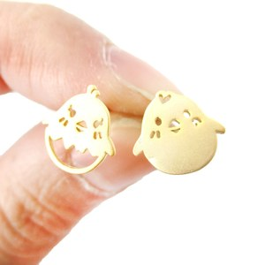 Mix and Match Baby Chick Bird Shaped Animal Stud Earrings in Gold
