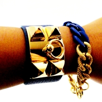 Chunky Link Chain Gold & Blue**FREE SHIPPING