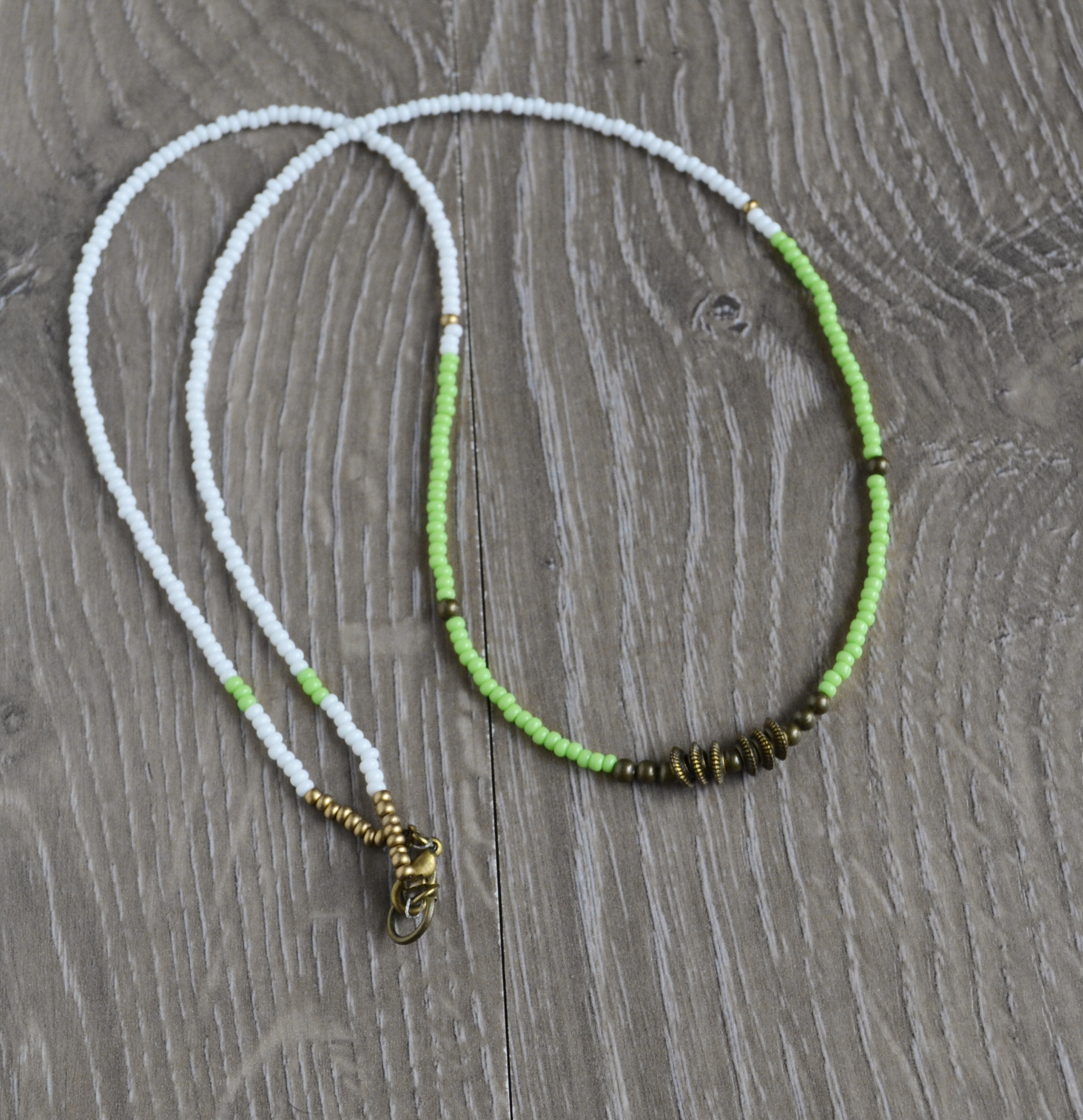 beaded necklace kiwi green necklace seed bead