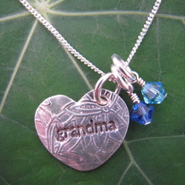 Grandma Heart Necklace with 2 Birthstones