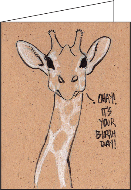 Birthday Giraffe Greeting Card 183 Flat Cat Studio 183 Online