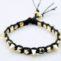 Gold Spikes Black Bracelet
