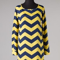Yellow Navy Blue Chevron Stripe Zig Zag Print Long Sleeve Tunic SML
