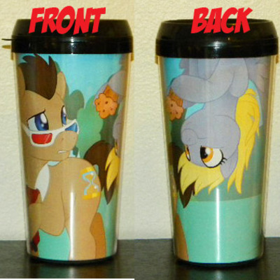Doctor whooves and derpy drink tumbler