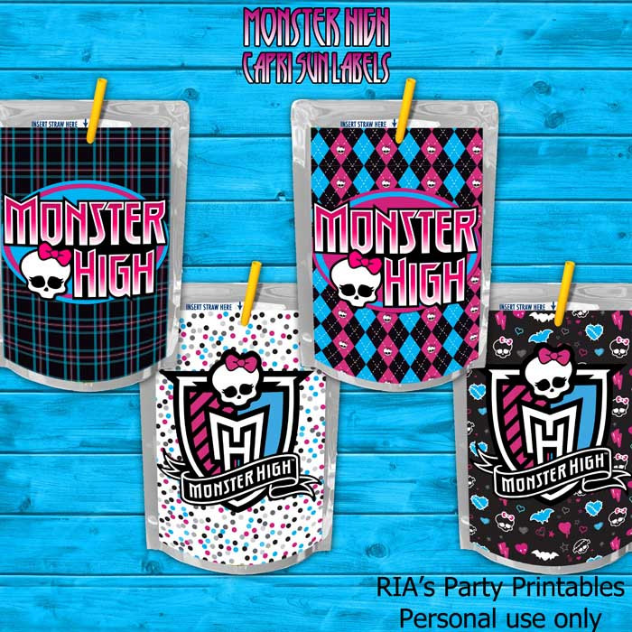 Free Printable Monster High Labels Monster High Capri Sun Labels