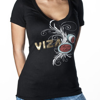 Sans Red Women's V-Neck Shirt