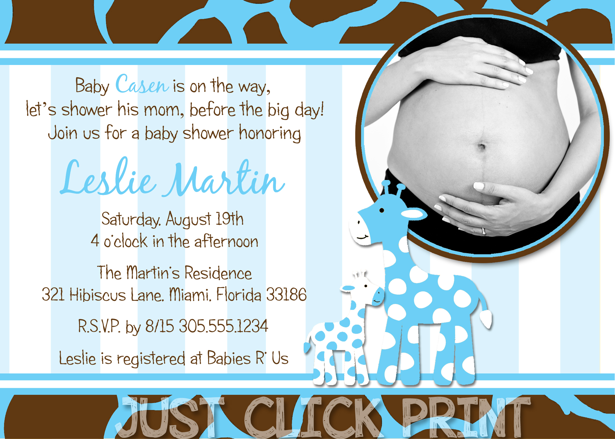 BoyGirl Safari Giraffe Baby Shower Invitation Printable Any Color