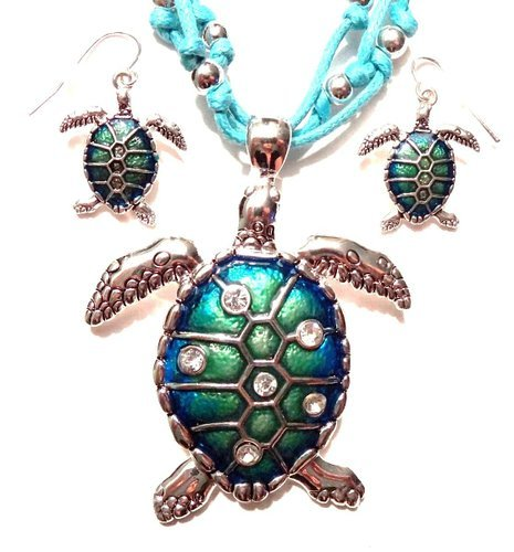 Sea Turtle Large Beautiful Crystals Necklace And Earrings