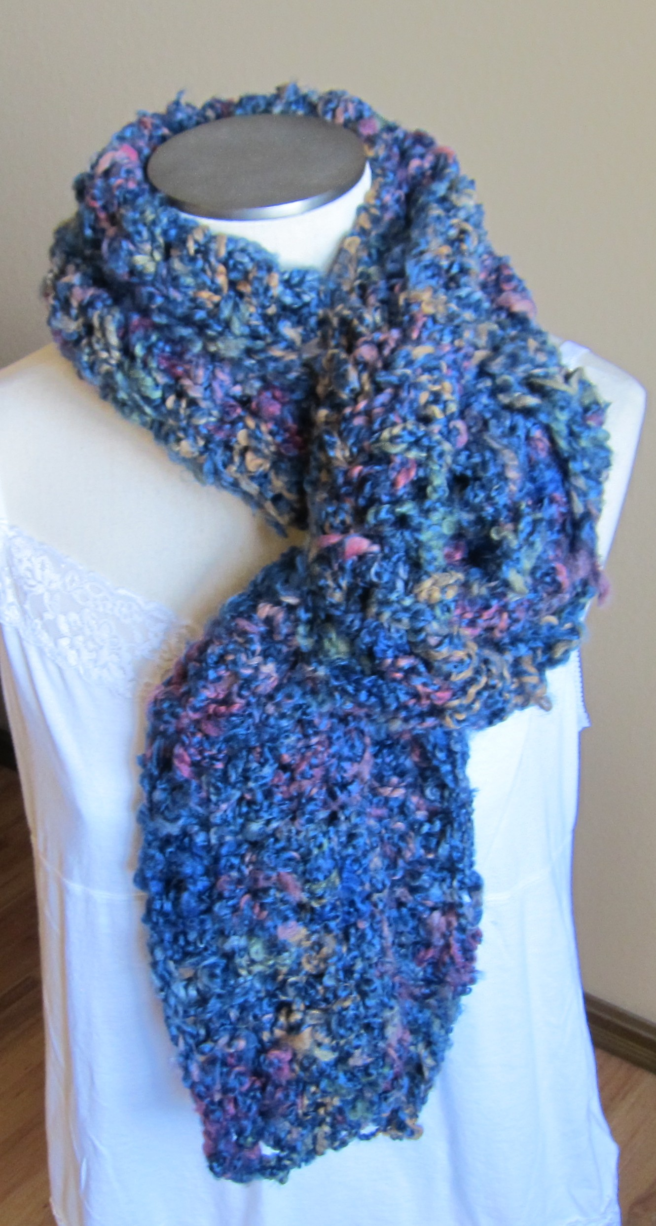 Crocheting With Thick Yarn : Crochet Scarf in Blue Multi Color Thick Yarn ? KitkatCrochets ...