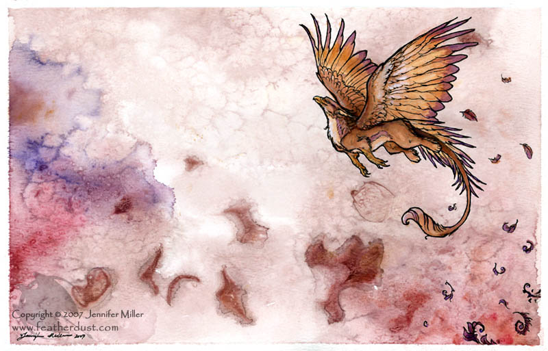Rose_gryphon_vernation_-_ink_and_watercolor_original
