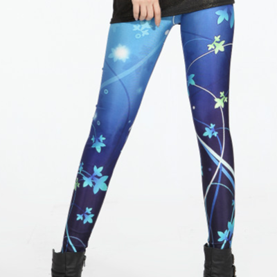 Blue flower cosmic tights