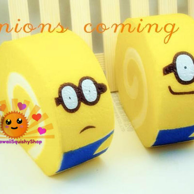 Jumbo despicable me minion cake roll/ swiss roll squishy charms