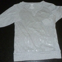 Gray Glitzy Long Sleeve Shirt-Old Navy Size Large 10/12