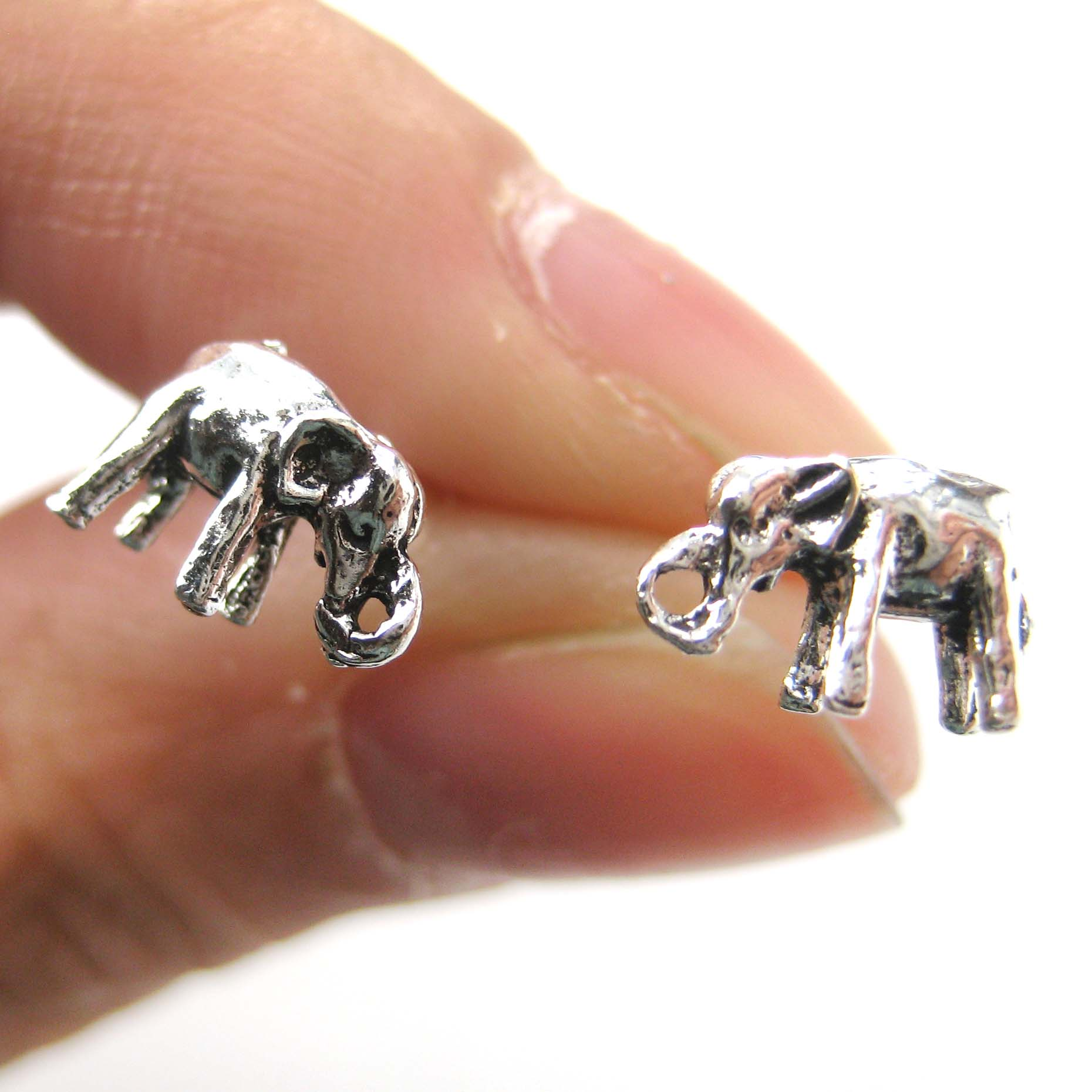 3d miniature elephant animal stud earrings in sterling. Black Bedroom Furniture Sets. Home Design Ideas
