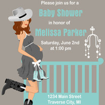 Cowboy Baby Shower Invitations Country Western Crib Theme for A