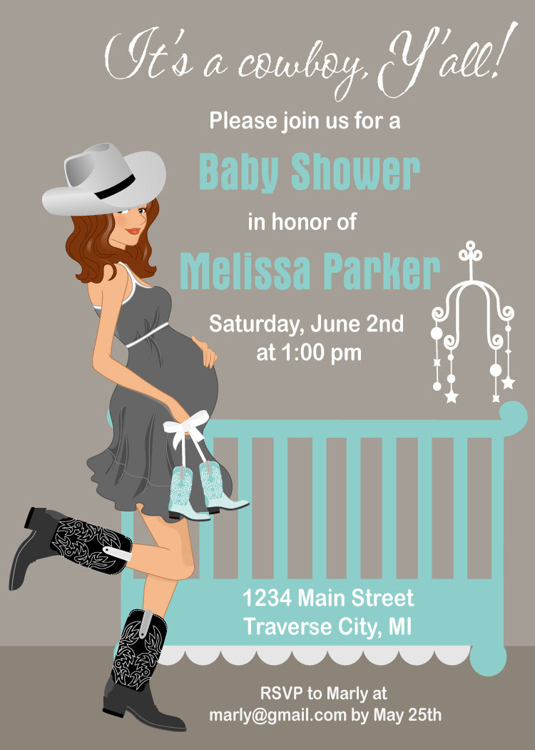 Cowboy Baby Shower Invitations - Country Western Crib Theme for A ...