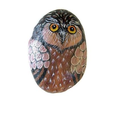 Owl painted on a medium-size rock - free usa shipping