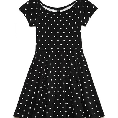 Black polka dot skater dress