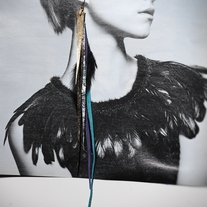 Fahmina Eco Leather Feather Shoulder duster earrings™