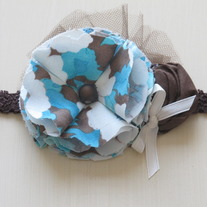 Tuquoise and Brown Floral Print headband