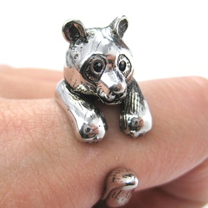 3D Panda Bear Ring in SHINY Silver - Sizes 5 to 10 Available