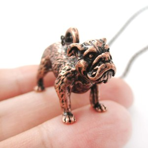3D Realistic Bulldog Puppy Dog Lover Animal Charm Necklace in Copper