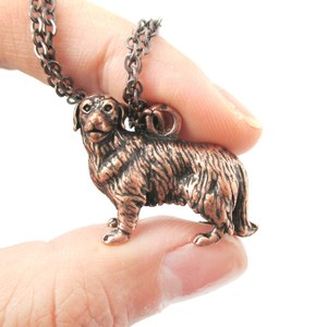 3D Realistic Golden Retriever Animal Dog Breed Charm Necklace in Copper