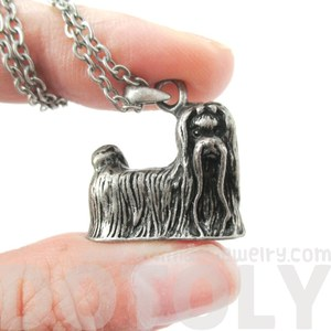 3D Realistic Maltese Animal Dog Breed Charm Necklace in Silver