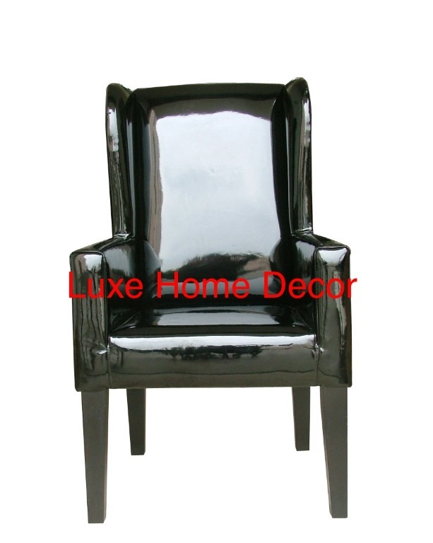 Patent Leather Club Chair Luxe Home Decor Furnishings