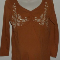 Dark Orange Top with White Stitching-Duo Maternity Size Medium
