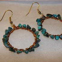 Turquoise Gemstone Hoop Earrings