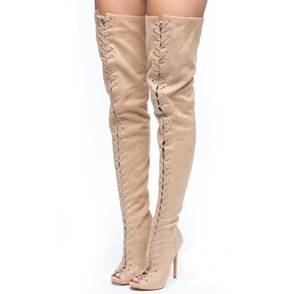 ziginy piarry thigh high boot cinnamon suede on storenvy