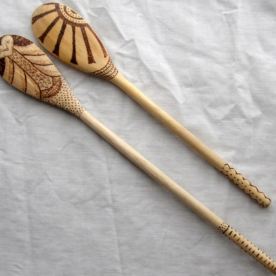 Wood burned cooking spoons