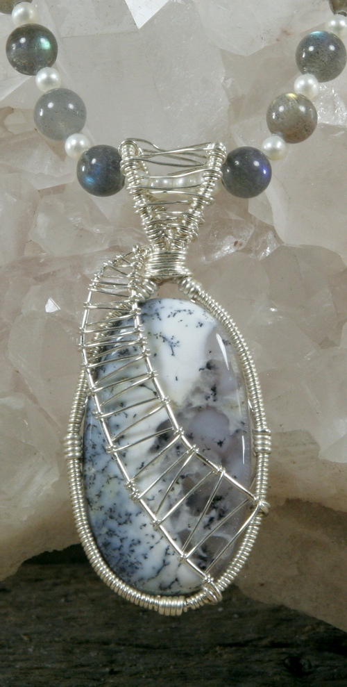 Labradorite and pearl necklace with dendritic agate merlinite labradorite and pearl necklace with dendritic agate merlinite pendant thumbnail 2 aloadofball Images