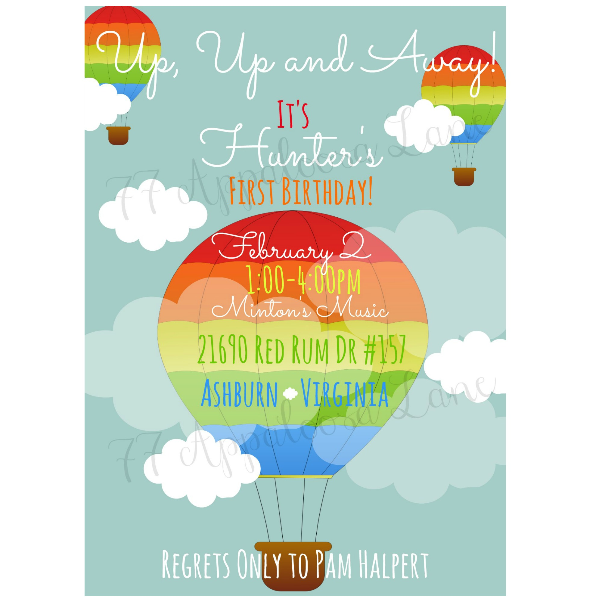 Up Up & Away! Hot Air Balloon Birthday Invitation · 77 Appaloosa ...