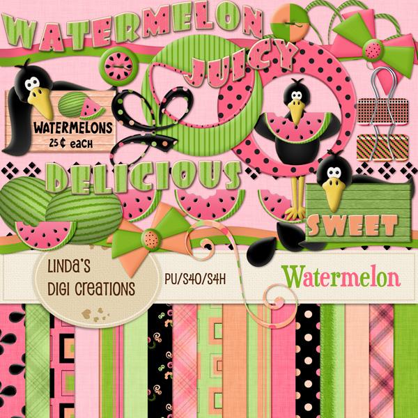 Watermelon Digital Scrapbooking Kit Lindas Digi Creations