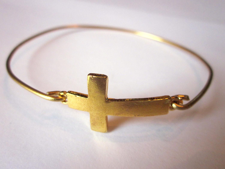 Sideways Cross Bangle Bracelet Gold Sideways Cross Bangle