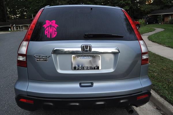 Pretty Bow Circle Monogram Car Decal Stickie Situations Online - Circle monogram car decal