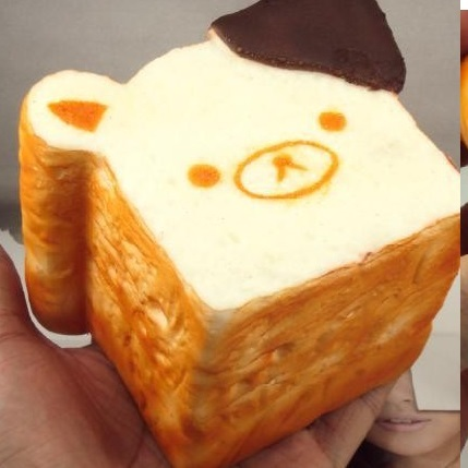 JUMBO Rilakkuma Bread Loaf Dipped in Chocolate Sweets Cafe Series Squishy Charms , Thumbnail 3