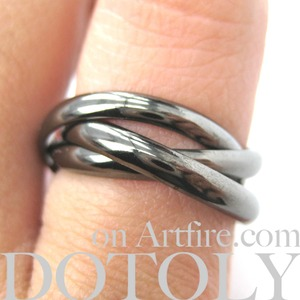 Three Connected Rings Linked into One Ring in Gunmetal Silver - Sizes 4 to 7 Available