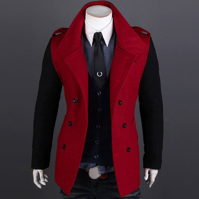 Men double-breasted woolen coat