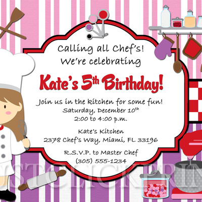 Little Chef Girls Cooking Party Birthday Invitation Printable – Cooking Birthday Party Invitations